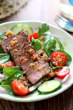 Spicy Basil Beef Salad - this is a refreshing, beautiful, and pleasant tasting salad. You are going to love it!