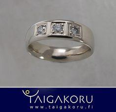 KVS95 Timanttisormus, valkokultaa, taigakoru. Diamond ring, white gold. www.taigakoru.fi