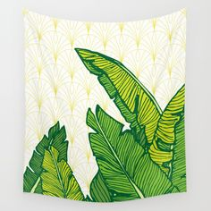 Hand-drawn banana leaves, turn into vector illustration on vintage pattern background. From ink pen hand drawing by DesigndN. Inspired by my granny's living room.