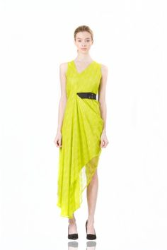 Disa Dress in Chartreuse by Ziska. A draped, sleveless, fashion-forward evening dress that's fresh, sophisticated, and fun all at once! #Fashion #Style #LastaShop