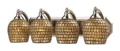 ELK Lighting 570-4N-Gld Four Light Vanity In Satin Nickel And Gold Mosaic Glass