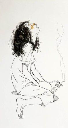 Dark Art Illustrations, Art Drawings Sketches, Illustration Art, Pretty Art, Cute Art, Cartoon Kunst, Arte Sketchbook, Sad Art, Art Reference Poses