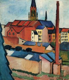 St. Mary's Church with houses and chimney by Macke Giclee Reproduction on Canvas
