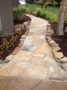 Great Flagstone Walk With Polymeric Sand.