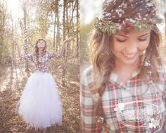 Girl throwing up confetti in woods by Julie Paisley Photography