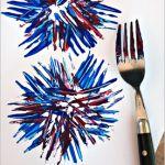 Kids Fireworks Craft Using a Fork