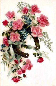 vintage illustration - horseshoe with flowers