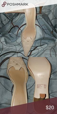 Cream pointy heels NWOT Weaved, pointy 3 inch heels FIONI Clothing Shoes Heels