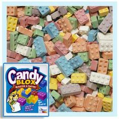 Blox Candy - Lego-shaped candy. What kid wouldn't love to get 11 POUNDS of Lego candy! This sweet gift is sure to WOW anyone ;-) http://www.gumball.com/candy-blox-lego-shaped-candies.aspx