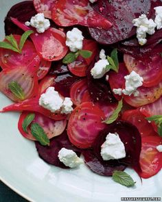 - Sliced Beets and Goat Cheese - steamed beets into thin slices and vinaigrette, (add seeds,nuts, blue cheese, walnut oil)