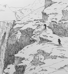 Landscape Sketch, Landscape Drawings, Environment Sketch, Mountain Drawing, Background Drawing, Ink Pen Drawings, Appalachian Trail, Illustrations And Posters, Art Sketchbook