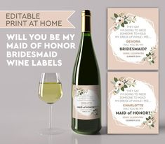 Be My Bridesmaid Wine Label, My Maid of Honor Announcement,Be My Maid of Honor Wine Label, Funny Bridesmaid Wine Label, Editable Wine Labels Asking Bridesmaids, Be My Bridesmaid, Wine Labels, Beer Label, Maid Of Honor, Colorful Backgrounds, Party Ideas, Funny, Etsy