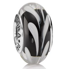 Pandora Black/White Swirly Swirl Murano Glass