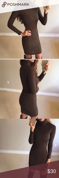 •Reposh• Golden Brown Turtleneck Dress -NWOT Reposh from the closet of @lovestoryshop 💕. This dress is brand new, never worn (other than tried on), immaculate condition! No tags. ***PLEASE READ: This dress is TAGGED as a Medium, but could definitely fit a Small and even an XS***. It is stretchy, though! But I had to notate this to avoid potential issues. I'm a true Small, and this was a little small on me. That is why it is listed as a Small, but the tag says M. Price is firm unless…