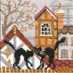 "City & Cats Autumn Counted Cross Stitch Kit-5""x5"" 16 Count"