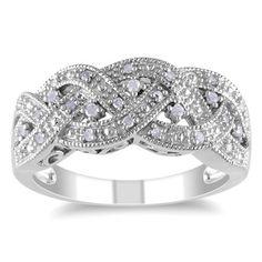 M by Miadora Sterling Silver 1/8ct TDW Diamond Ring