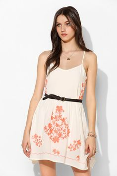 Lucca Couture Floral Embroidered Tank Dress