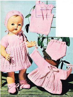 Dolls knitting pattern.16 and 20dolls. Vintage by KnittingNannyMo