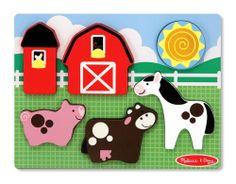 Melissa Doug Wooden Barnyard Fun Toddler Sensory Chunky Puzzle Fun Learning Toy