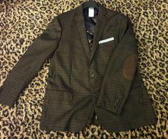 Cremieux Wool Saratoga Jacket Blazer Sport Coat Elbow Patches Plaid Mens XL 46  #RalphLauren #TwoButton