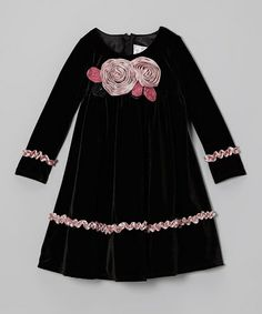 Take a look at this Black & Pink Velvet Rose Dress - Toddler & Girls by Sophia Young on #zulily today!