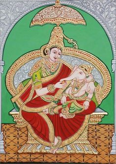 Ganapati and Parvati Tanjor painting it's south indian art from Maysore, india Mysore Painting, Tanjore Painting, Indian Gods, Indian Art, Temple India, Ganesha Painting, Mural Ideas, Hindu Art, Traditional Paintings
