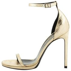 Pre-owned Saint Laurent Jane Metallic Lizard-embossed D'orsay Sandal,... ($625) ❤ liked on Polyvore featuring shoes, sandals, heels, heels and boots, golden, strappy heeled sandals, leather shoes, wrap sandals, leather sandals and ankle strap shoes