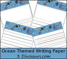 Free Ocean Themed Writing Paper - 3Dinosaurs.com