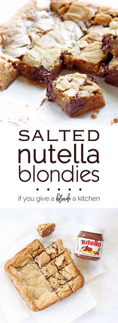 These delicious 50 Easy Nutella dessert recipes. Enjoy Nutella Brownies, Nutella Cookies and even Nutella are incredibly easy to make. Chewy Blondies Recipe, Nutella Blondies, Nutella Cheesecake, Strawberry Cheesecake, Cheesecake Bars, Nutella Smoothie, Nutella Cookies, Baking Recipes, Cookie Recipes