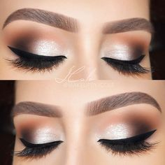 perfect glam makeup: cooler champagne shimmer on the lid paired w/ a warm brown crease & black winged liner @makeupbyjcole | #eyeliner #neutral