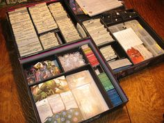 Arkham Horror Custom Storage using index dividers and foamcore (all expansions). Board Game Organization, Craft Organisation, Board Game Storage, Board Games, Card Storage, Storage Ideas, Eldritch Horror, Tabletop Games, Home Office Design