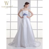 Elegant White Wedding Dress Blue Embroidered Belt  A Line Court Train Strapless  Bride Dresses For Wedding  Can Customized WD508