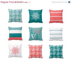 SALE Coral Teal Throw Pillow or Pillow Cover by HLBhomedesigns
