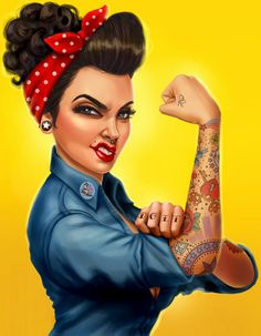 ♥ Rosie the Riveter!♥ Cartoon Pinup, Tattoos, Pinup Bombshells