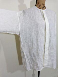 Eskandar blouse lagenlook top artsy art to wear ivory Linen upscale design sz OS #Eskandar #Blouse