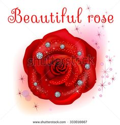 Red macro rose with diamonds isolated on white background