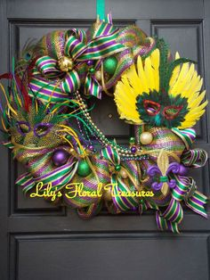Mardi Gras Wreath by LilysFloralTreasures on Etsy, $75.00