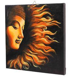 Hand-Painted Lord Buddha Portrait – The Fire Sermon – Shades of Orange & Black – Wall-Hanging Canvas Paintings – Exclusive Wall Decorations – Home Décor Canvas Painting Tutorials, Acrylic Painting Canvas, Canvas Art, Canvas Prints, Budha Painting, Mural Painting, Buddha Canvas, Buddha Art, African Art Paintings