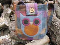 Owl crossbody totebag recycled wool by granniesraggedybags on Etsy, $27.00