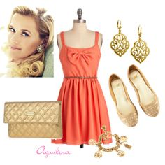 Coral & Gold, created by mayra-aguilera on Polyvore