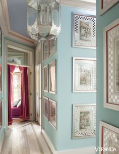 A Moroccan lantern and custom-painted floors add glamour and style to this Hamptons retreat owned by designer Thomas Britt. - Veranda.com