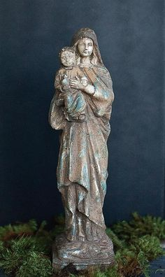 """From our Blessings Collection. 15-3/4""""H Resin Reproduction of Vintage Virgin Mary & Child Statue"""