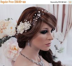 SALE  Ivory White Bridal Headband Vine Floral by EleganceByKate