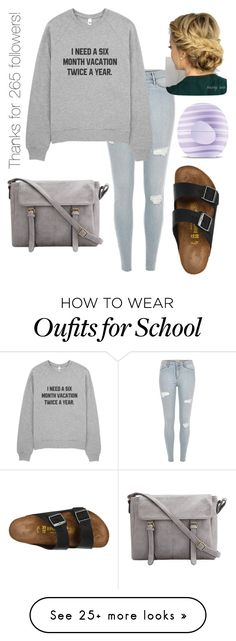 """Omw to school... Anyone else agree with me?"" by kyliejoy02 on Polyvore featuring Birkenstock and Eos"