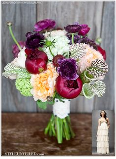 I love this color palette: Peach, Creme and Raspberry Peonies, Purple Ranunculus, Green and White Viburnum, Strawberry Scabiosa and Sarracenia