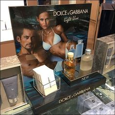 Yes, your eyes do not deceive you concerning the colors of this Dolce & Gabbana Light Blue Counter-Top Display vs the included samples. Retail Fixtures, Blue Bottle, Counter Top, Visual Merchandising, Close Up, Light Blue, Display, Floor Space, Billboard