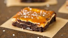 Betty Crocker ultimate fudge Premium brownie mix is the base for a multi-layered bar that's crowned with caramel sauce and sea salt.