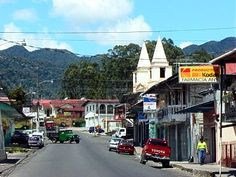 Main Street in down town Boquete.It is about 6:00 am in the morning.