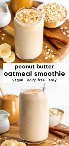 Vegan Breakfast Smoothie, Banana Oatmeal Smoothie, Dinner Smoothie, Healthy Breakfast For Kids, Healthy Breakfast Shakes, Banana Breakfast Recipes, Smoothies For Dinner, Oatmeal For Breakfast, Banana Oatmeal Pancakes Vegan