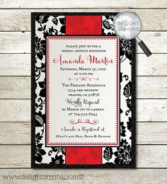 Red & Black Floral Bridal Shower Invitations and by DelightInvite #vintagebridalshower, #bridalshowerinvitations, #bridalshower, #bridalinvitations, #vintagebride